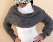 Shrug Knit Wonems Shrug - Fashion Knit Dark Grey Shrug - Shrug Long Sleeved Shawl - READY TO SHIP