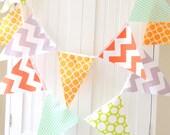 Fabric Bunting, Banner, 11 Pennant Flags, 5 Feet, Party, Orange, Grey Chevron,Teal Stipe, Yellow, Lime Polkadot, Boy Birthday, Nursery Decor