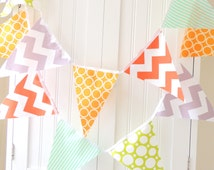 Fabric Bunting, Banner, 11 Pennant Flags, 5 Feet, Party, Orange, Grey Chevron,Teal Stipe, Yellow, Lime Polkadot, Boy Birthday, Nursery Decor