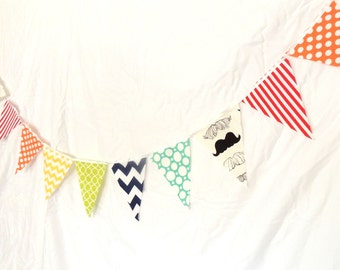 Garland Banner Bunting, Fabric Pennant Flags, Mustache, Yellow Chevron, Orange, Teal Polka Dot, Lime, Red, Boy Nursery Decor, Birthday Party