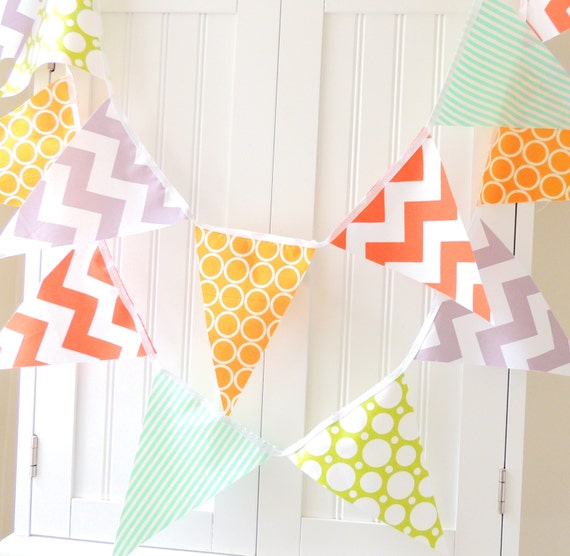 Banner, Bunting, Pennant Fabric Flags, Orange, Grey Chevron,Teal Stipe, Yellow, Lime Polka dot, Boy Birthday, Nursery Decor, Photo Prop
