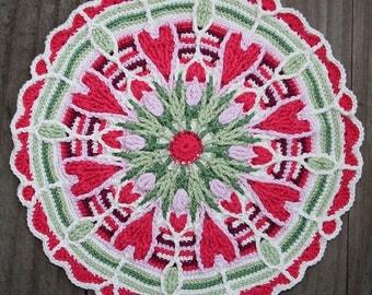 Crochet Overlay Mandala  No. 4, crochet Ppattern, PDF in English, Deutsch