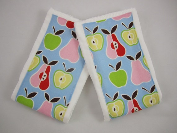Apples and Pears - Burp Cloths - Alexander Henry - Embellished Prefolds - Set of 2 (6-ply) Premium Cloth Diapers - Baby Girl