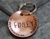 Custom Dog Tag / Custom Pet ID Tag - Lucy - in 1.25'' Domed Copper