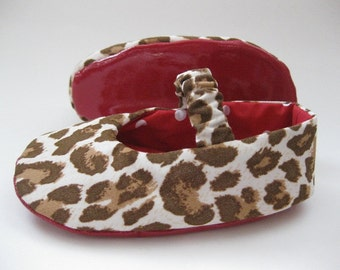 Leopard baby shoes toddler girl shoes handmade baby shoes red sole shoes animal print shoes - Designer Inspired