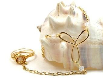 Gold Slave Bracelet Ring Attached with White Swarovski Crystals