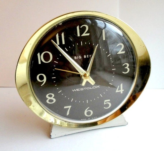 Vintage Alarm Clock Mid Century Modern Westclox Big Ben Wind Up Gold White 1960s
