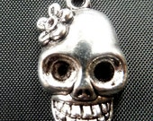 Destash (10) Day of the Dead Skull with Flower Charm - for pendants, jewelry making, crafts, scrapbooking