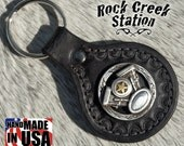 Leather Key Ring Fob with V-Twin Motorcycle Concho, Handmade
