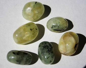 Prehnite With Epidote Inclusions Tumbled Medium Sized Stone