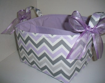 Large Diaper Caddy / Organizer Bin / Purple Grey Chevron - Personalization Available