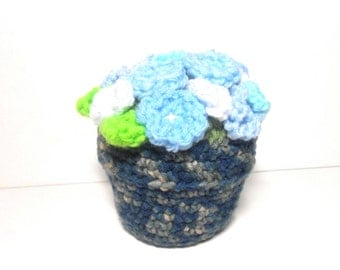 Crocheted Flower Pot with Blue and White Flowers, Crocheted Flowers, Blue Flowers, White Flowers