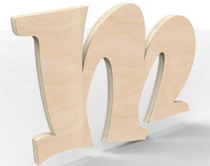 "Custom Hand Cut Letter M 12"" tall Unfinished Ready For Painting."