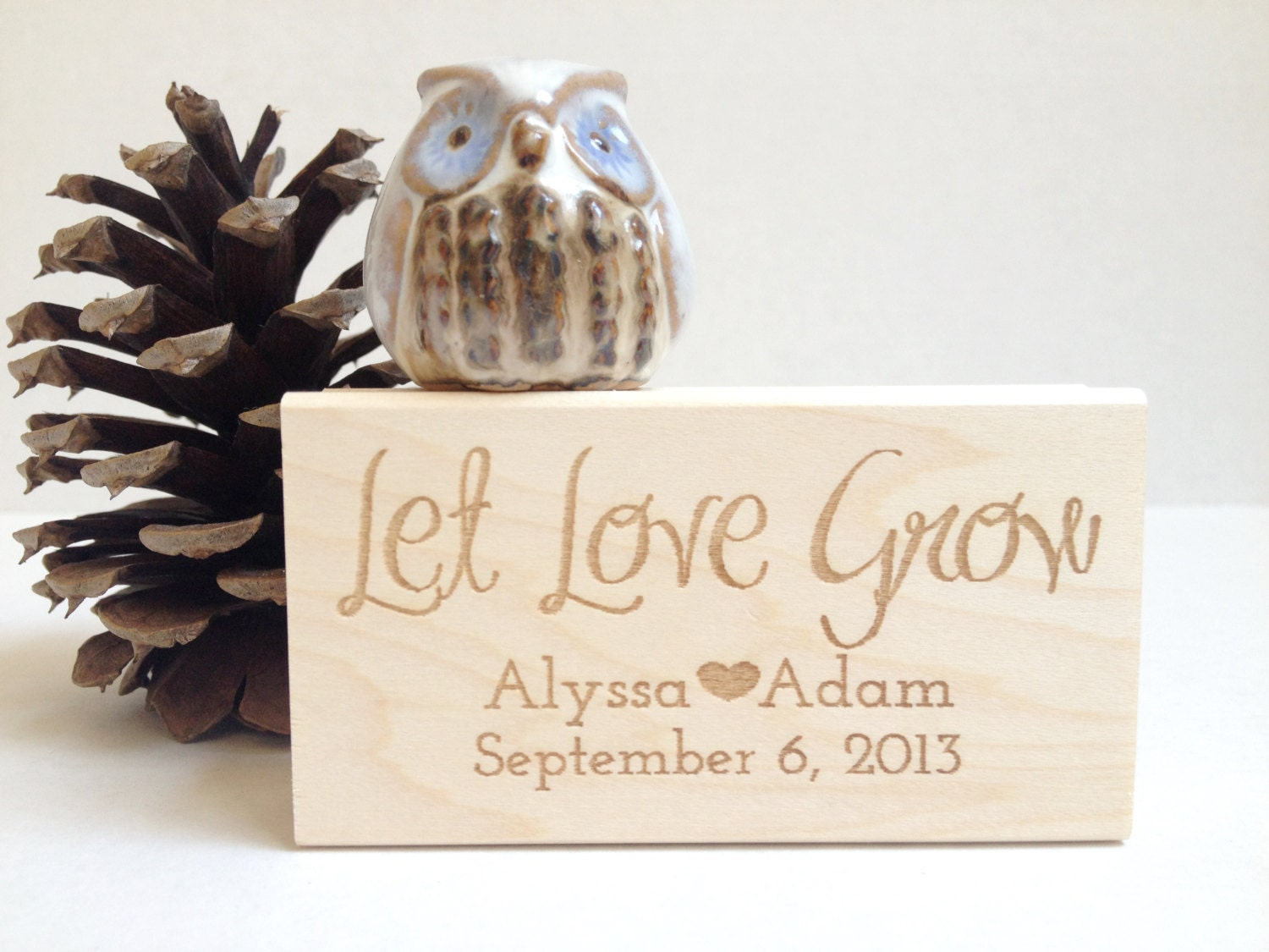 Let Love Grow. Custom Stamp. 1.5x3 Wedding Favors. Made to Order ...