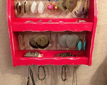 Upcycled Jewelry Organizing Display (Red Rack)