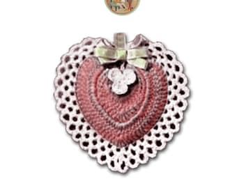 Vintage Heart Pattern for Crochet Valentine Heart Pincushion Lavender Pillow Instant Download PDF - PrettyPatternsPlease