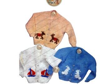 Vintage Baby Cardigan Knitting Pattern - Bunnies - Sailboats - Donkey - PDF Instant Download - PrettyPatternsPlease