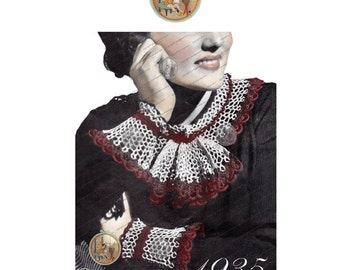 Vintage Collar & Cuff Set to Crochet for Women Circa 1935 - PDF Pattern Email Delivery - PrettyPatternsPlease