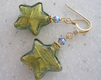 Large Venetian Glass Olive Stars with Gold Earrings