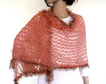 Hand knit shawl  Coral Knit shawl Orange Knit wrap Coral knit Scarf