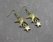 Flying Bird Star Brass Earrings Sky Dangle Swallow