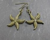 CLOSING SALE Starfish Brass Earrings