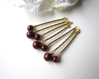 Marsala Pearl Hair Pins, Bordeaux Burgundy Red, Mixed sizes set of 7