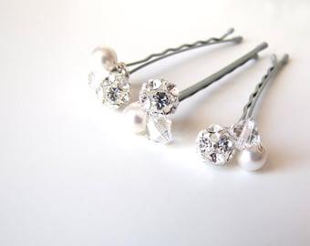 Bridal Hair Pins White Crystal Rhinestone Pearl Clusters, Set of 3