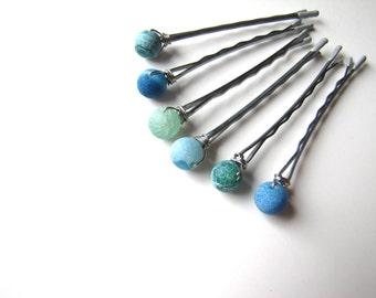 Agate Bobby Pins Sea Green and Blue, Set of 6 Hair Pins