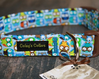 "Blue Owl Dog Collar ""Owl in Blue"" Custom Dog Collar"