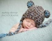 Baby Boy Bear Hat, Newborn Hat, Baby Boy Brown and Blue Earflap Crochet Bear Hat, Baby Props, Newborn Props, RTS Props, Baby Hat, Boy Props