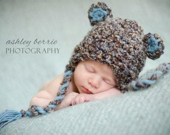 Baby Boy Bear Hat, Newborn Hat, Baby Boy Brown and Blue Earflap Crochet Bear Hat, Great for Photo Prop