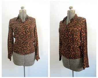 Vintage Betsey Johnson Blouse / Leopard Animal Print
