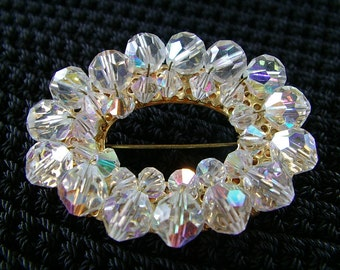 CRYSTAL Bead OVAL Brooch Pin Sparkly Aurora Borealis Costume Jewelry 1960s