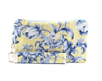 Yellow clutch with blue Asian toile fabric - small purse gift set for women features clutch & removable wristlet key fob - fabric handbag