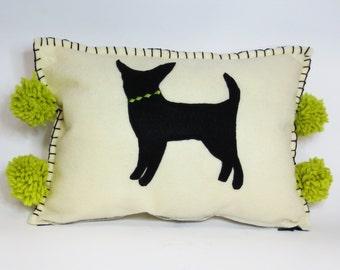 Felt Chihuahua Pillow - Eco Friendly Felt Applique Chihuahua Pillow Cushion - Bright Citron Green Accents