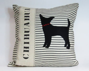 Black Felt Chihuahua Pillow - Felt Silhouette chihuahua silhouette pillow, dog silhouette pillow, stripe pillow, black stripe pillow decor