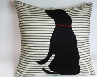 Black Felt Dog Pillow - Decorative Throw Accent Pillow Cushion Cover