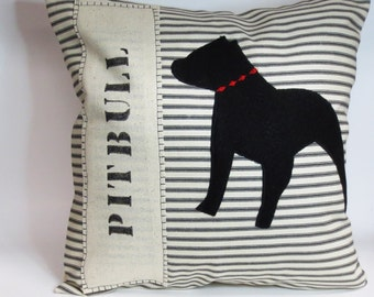 Pit Bull Pillow Cover  - Dog Pillow - Decorative Pillow  Cover, stripe decorative pillow dog, felt silhouette pit bull dog silhouette