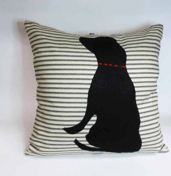 Decorative Dog Throw Pillows : Black Felt Dog Pillow Decorative Throw Accent Pillow Cushion