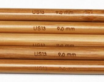 Stanwood Needlecraft - 9-inch Carbonized Patina Double Point Bamboo Knitting Needles, Sizes US 1-15