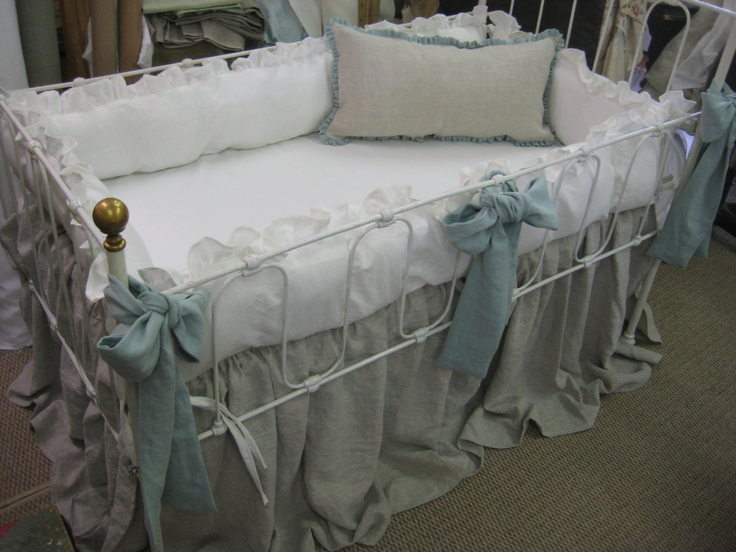 Washed Linen Ruffled Crib Bedding Separates Ruffled Bumpers