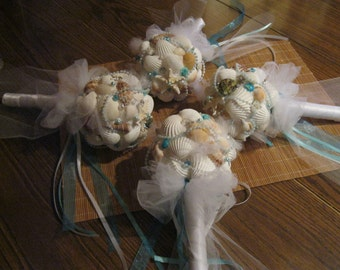 Beach Wedding Bridesmaids Posy Seashell Bouquet