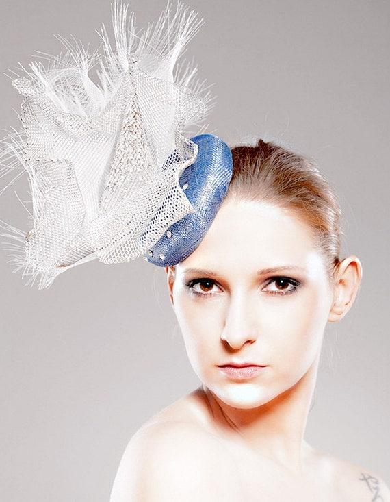 Summer Hat Blue Cocktail Fascinator Swarovski Rhinestones Wedding Silver Grey Accessory Gray Headpiece Head Dress Fashion