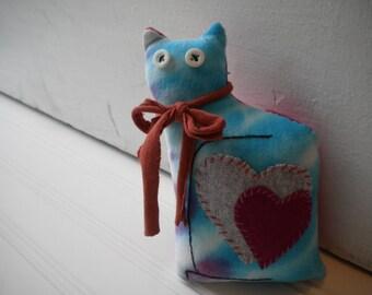 Blue Tye Dye Love Cat