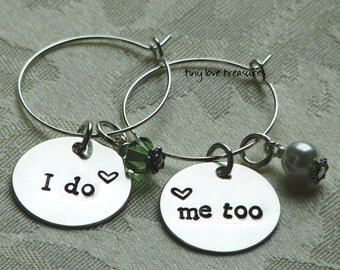 2 wedding Wine Charms for the bride and groom, sterling silver hand stamped I do, me too