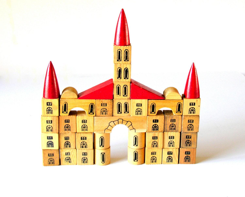 Vintage Toy Wooden Blocks Castle Fairy Tale Medieval Red Black