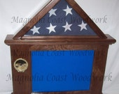 Walnut Flag Document Certificate Display Case Box Hand Made for 3x5 flag - Landscape Document