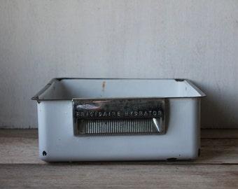 Vintage Fridgidaire Hydrator Enamelware Bin