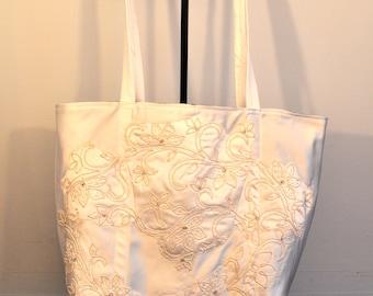 Eggshell and navy blue Bridal tote bag regal duchess satin brides bag
